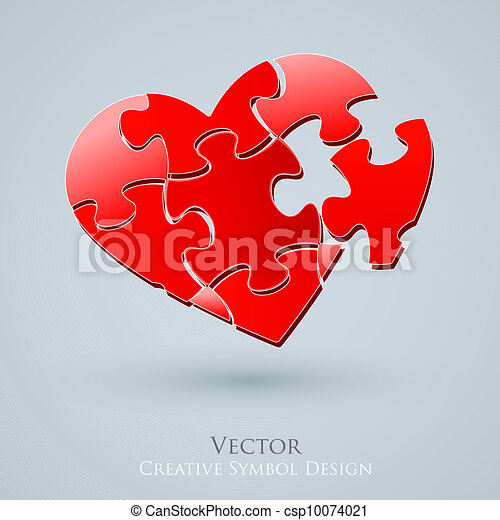 Conceptual Heart Vector Design. Creative Idea of Romantic Relationship Web Search. Love Icon - csp10074021