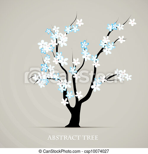 Tree blossom springtime vector art. Abstract plant graphic background - csp10074027