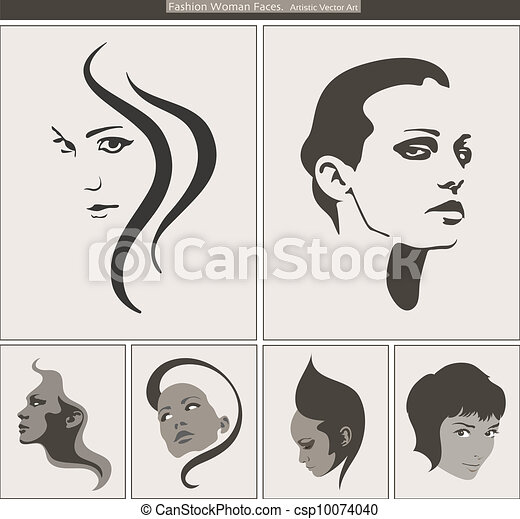 Woman Face Silhouette Portrait. Vector Beauty Profiles - csp10074040