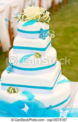 Images de g teau bleu blanc mariage mariage g teau dans blanc csp10074187 - Mariage bleu et blanc ...