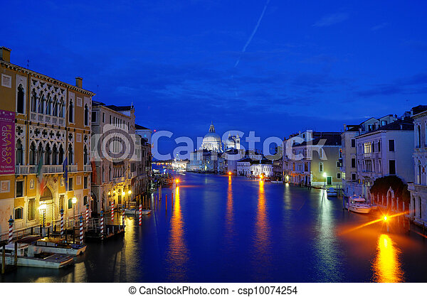 Night Canal in Venice with beautiful lights, Venice, Italy (HDR) - csp10074254