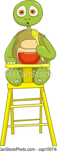 Funny Turtle. Baby Eating. - csp10074451