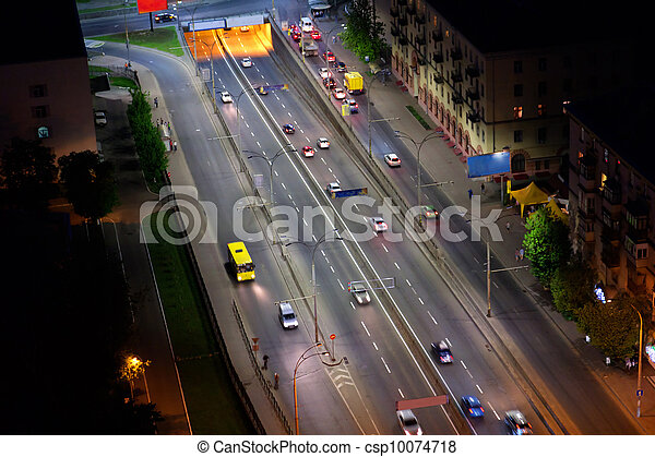 night city aerial view, Kyiv, Ukraine - csp10074718