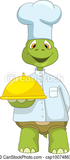 Clip art vecteur de rigolote tortue chef cuistot - Image tortue rigolote ...