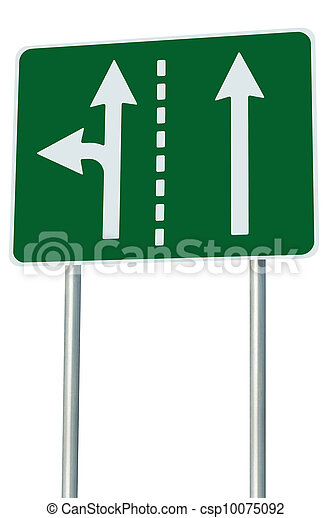 Appropriate traffic lanes at crossroads junction, left turn exit ahead, isolated green road sign, white arrows, EU european roadside signage, abstract alternative route choice metaphor