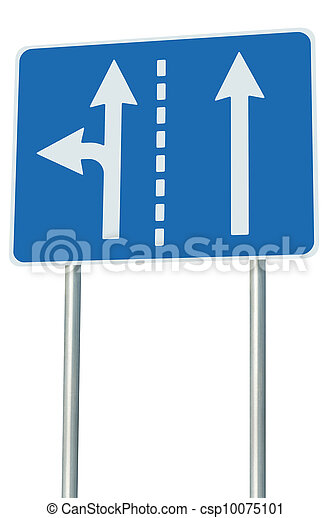Appropriate traffic lanes at crossroads junction, left turn exit ahead, isolated blue road sign, white arrows, EU european roadside signage, abstract alternative route choice metaphor