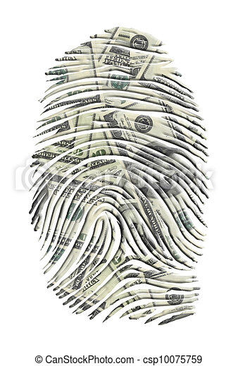 US Dollars FInger Print - csp10075759
