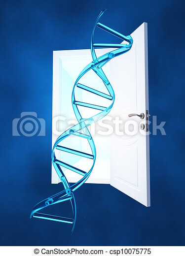 DNA strand and open doorway - csp10075775