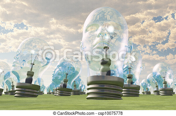 Group of human head lightbulbs in landscape - csp10075778