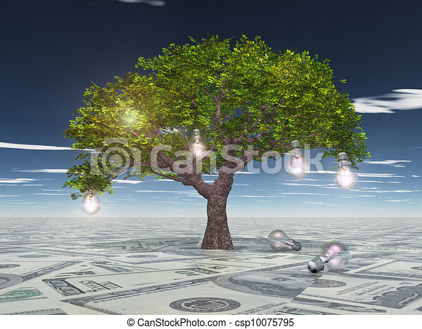 Tree with light bulbs grows out of US currency surface - csp10075795