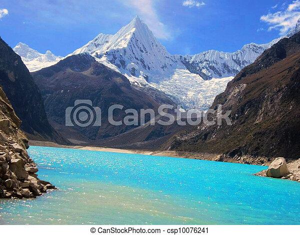 Alpamayo blue lake and mountain - csp10076241