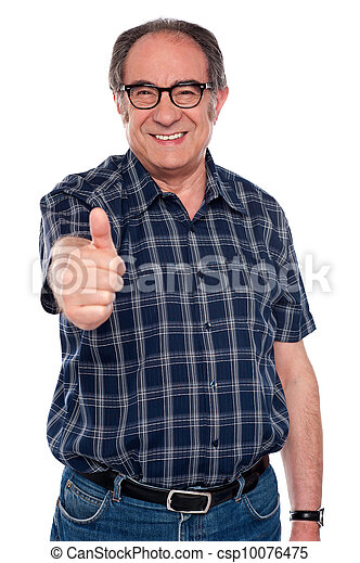 Aged man gesturing thumbs up - csp10076475