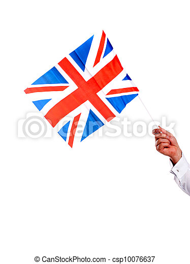 Image of males hand holding UK flag - csp10076637