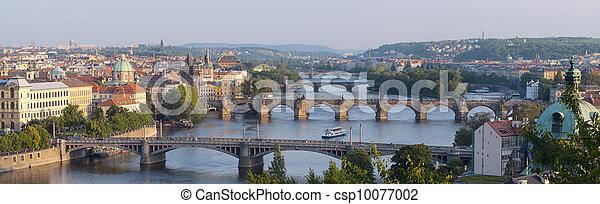 Sunrise over Prague. Panorama of five bridges. - csp10077002