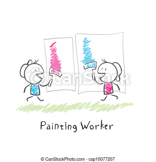 Two people paint rollers. Illustration. - csp10077207