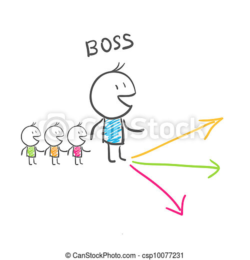 The leader chooses a direction of movement. Illustration. - csp10077231