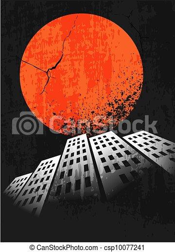 Apocalyptic retro poster. Sunset. Grunge background. - csp10077241