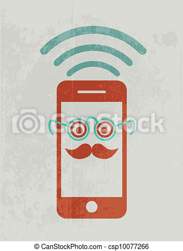 Mobile phone wearing glasses. Geek concept. - csp10077266