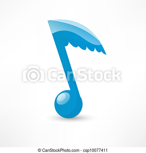 Blue musical note to the wing - csp10077411