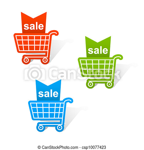 Shopping basket labels. - csp10077423