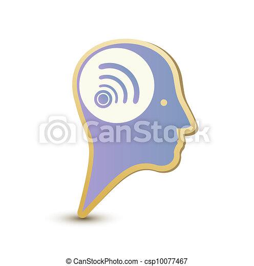 Wireless man. Label sticker. Modern concept - csp10077467