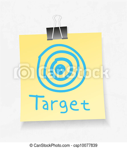 Yellow note paper and attach. Target concept - csp10077839