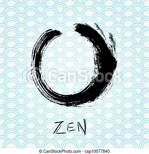 Zen calligraphy brushstroke circle. Oriental character. - csp10077840