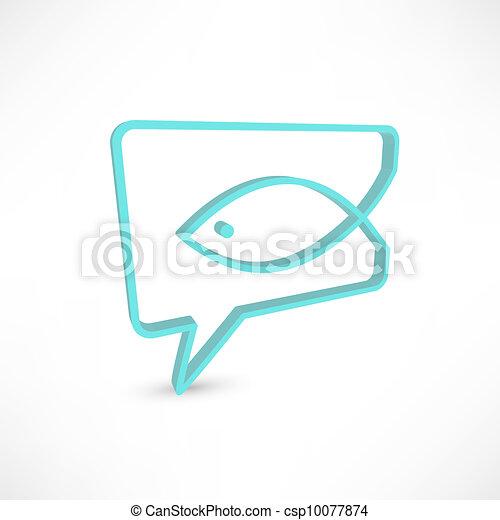 Christian religion symbol fish. Concept speech bubbles - csp10077874