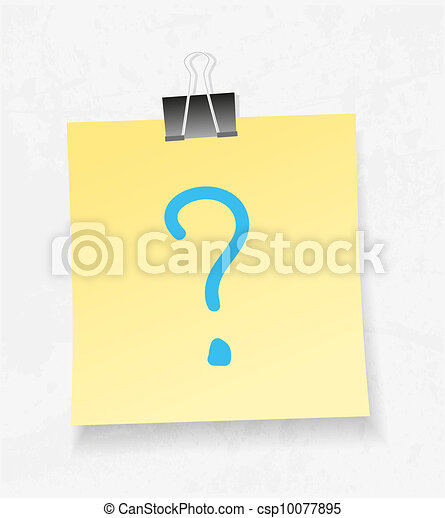Yellow note paper and attach vector. Question mark - csp10077895