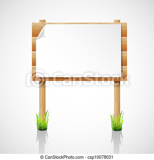 Vector wooden notice board with grass - csp10078031