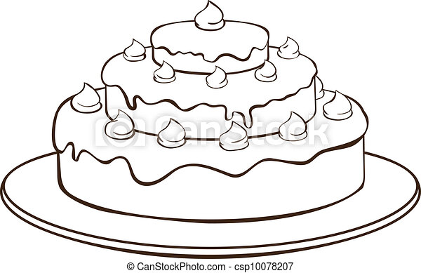 Vector Clipart of Outline cake - Outline illustration ...