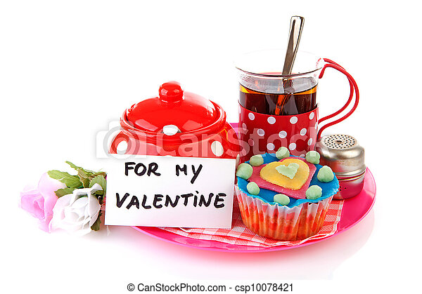 breakfast for my Valentine; cup of tea and cupcake - csp10078421