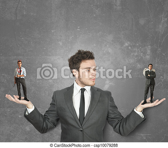 Businessman with devil or angel - csp10079288