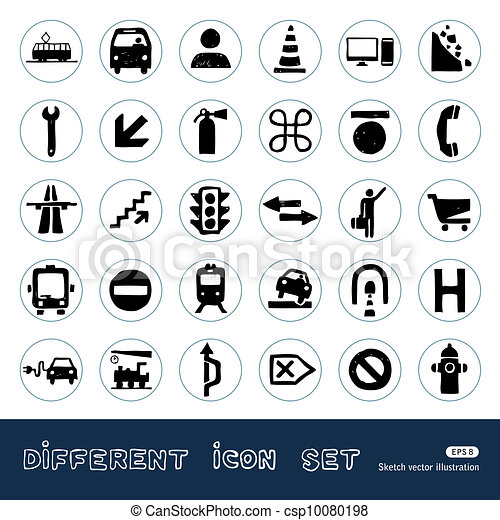 Transport and road signs icons set - csp10080198