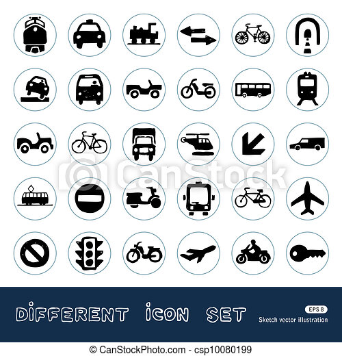 Transport, road signs and car icons - csp10080199