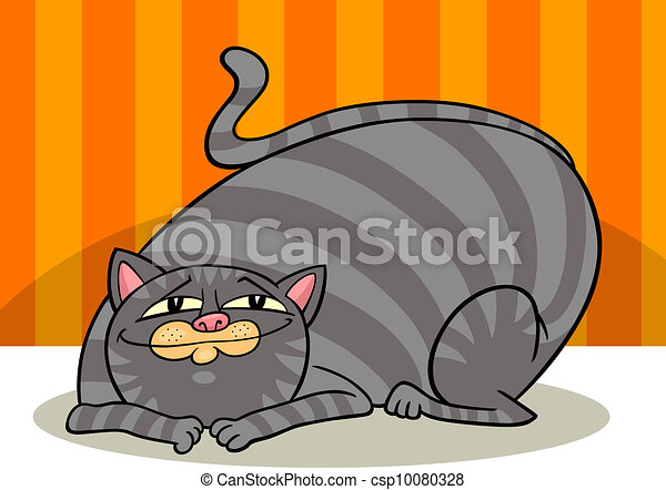 tabby fat cat cartoon - csp10080328