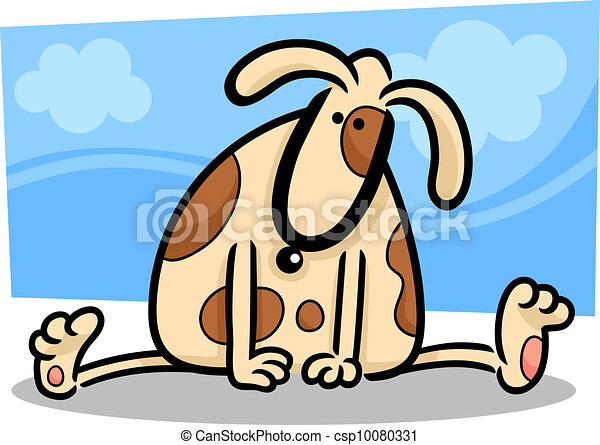 cartoon doodle of funny spotted dog - csp10080331