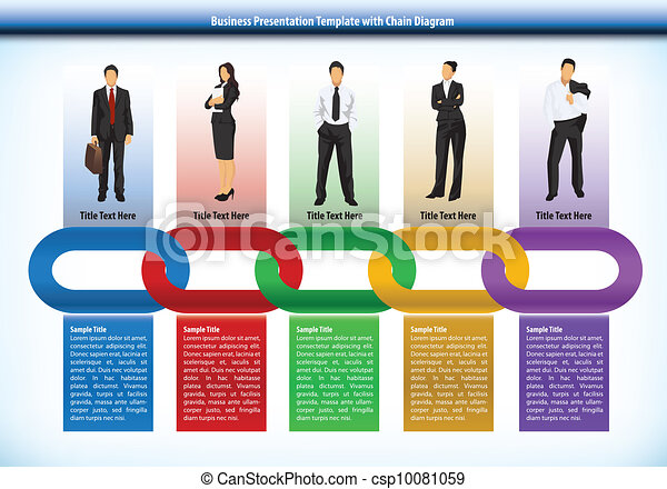 Business presentation template with chain - csp10081059
