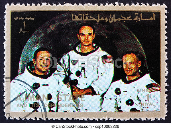 Postage stamp Ajman 1973 Crew of Apollo 11 - csp10083228