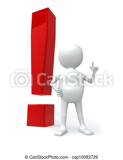 3D white man with big red exclamation sign isolated on white background. - csp10083729