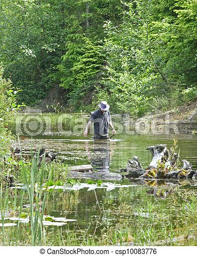 Biólogo, trabalhando, Lagoa - csp10083776