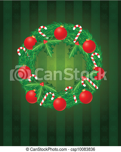Christmas Wreath with Ornaments and Candy Cane Illustration - csp10083836