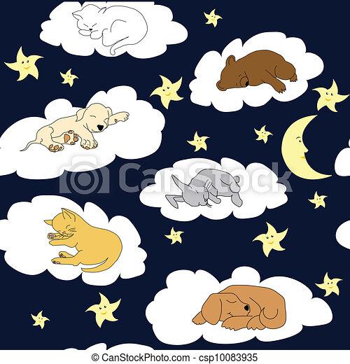 夜晚, 天空, 背景, 睡觉, c 贤e, 卡通漫画, 动物 - csp10083935