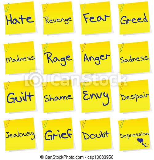 Set of post its with netgative emotions - csp10083956