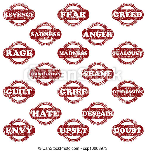 Set of rubber stamps with negative emotions - csp10083973