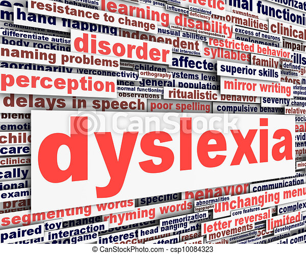 Dyslexia disability message conceptual design - csp10084323
