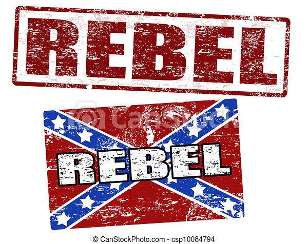 Confederate flag and rebel stamp - csp10084794