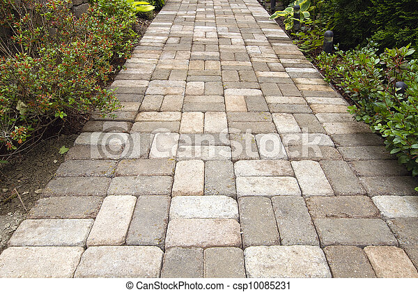 Garden Brick Paver Path Walkway - csp10085231