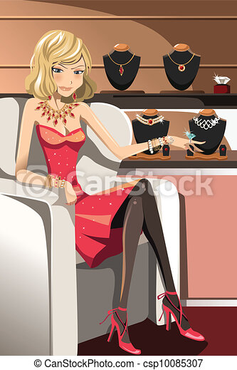Woman with jewelry - csp10085307