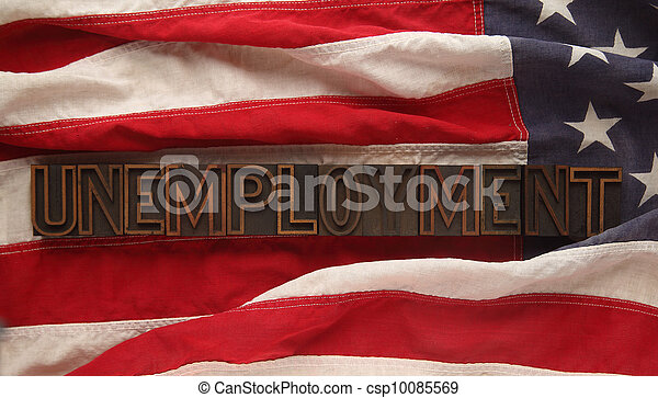unemployment on American flag - csp10085569